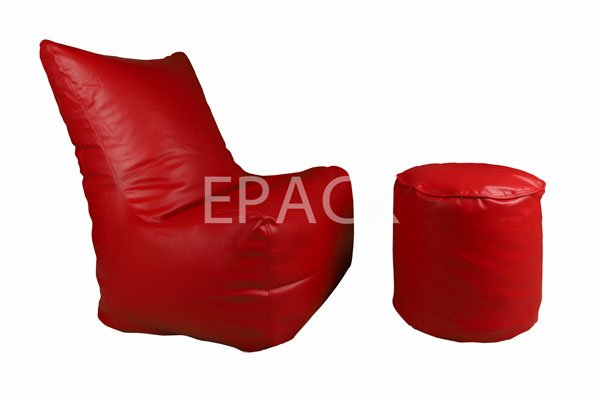 red bean bag with stool, bean bags